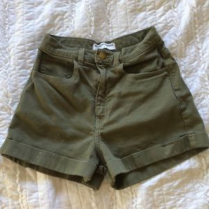 High-waisted hunter green denim shorts